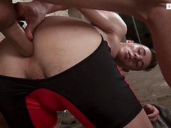 Oiled-Up New Boy Gets His Butt Stretched By Dunn's Hard Axle! HD