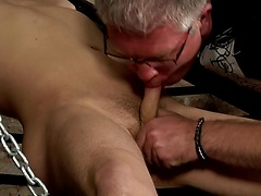 Sebastian is back to do what he does best; drain the cum from a slave boy!